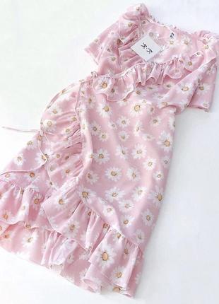 ⛔красивое платье на запах с рюшами воланами нежный цветочный принт ромашка