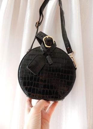 ✅топ круглая мини сумочка клатч фактурная эко кожа лак крокодил