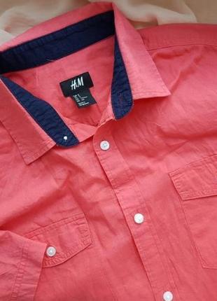 Скидка брендовая базовая коттоновая рубашка с коротким рукавом шведка h&m коралового цвета