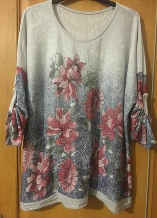 Трикотажный блузон реглан свитшот в цветах большой размер xl-xxl