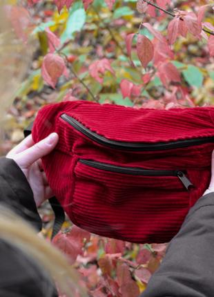 -55% очень стильная, вместительная сумка на пояс, бананка из вельвета! качество +++7 фото