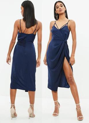 Распродажа! платье-футляр asos missguided миди с драпировкой и разрезом спереди