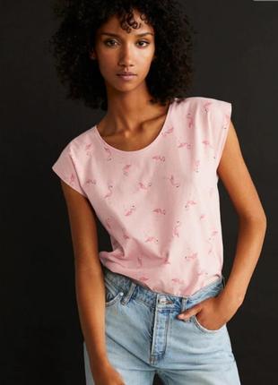 Женская футболка фламинго розовая от манго