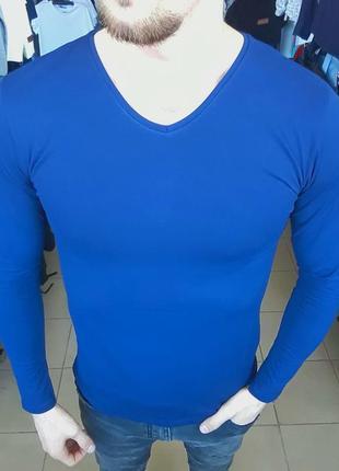 Лонгслив гольф мужской синий