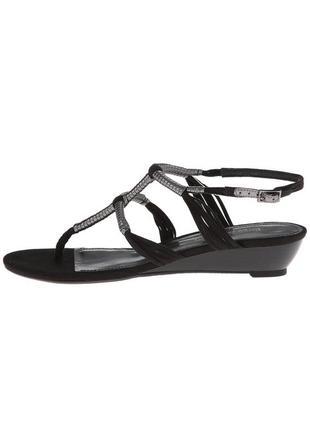 Enzo angiolini оригинал сандалии босоножки черные с серебристым на низкой танкетке бренд