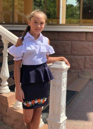 Школьная юбка-вышиванка №502-5
