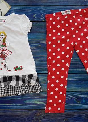 Летний яркий набор футболка и лосины на 3-4 года для девочки