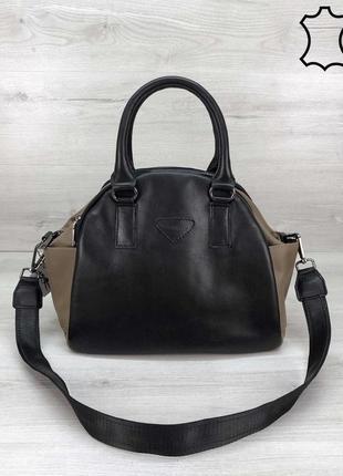 Новая женская кожаная чёрно-коричневая  сумка