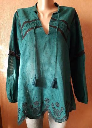Новая с биркой лёгкая блуза хлопок изумрудная с кружевом ажурная вышивка прошва zara