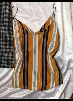 Блузка в полоску на тонких бретельках, майка