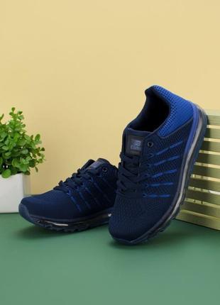 Стильные синие мужские кроссовки из текстиля сетка летние дышащие модные кроссы