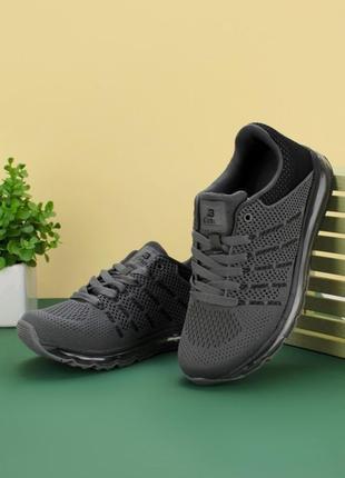 Стильные серые мужские кроссовки из текстиля сетка летние дышащие модные кроссы