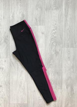 Чёрные с розовыми вставками спортивные лосины nike. размер s леггенсы легенсы лосіни