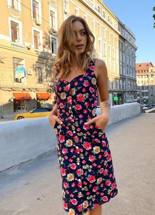 Джинсовое платье до колен