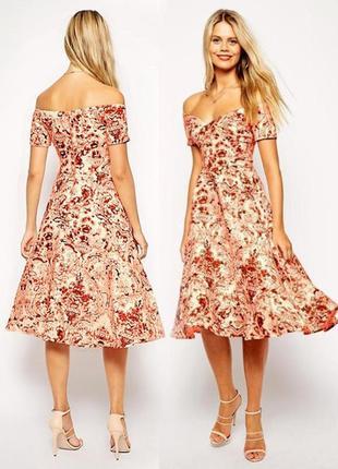 Распродажа нарядное пышное платье asos миди с открытыми плечами в стиле бриджит бардо