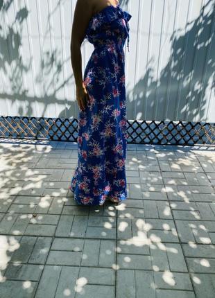 Шикарное платье макси в цветочный принт, хлопковое длинное платье