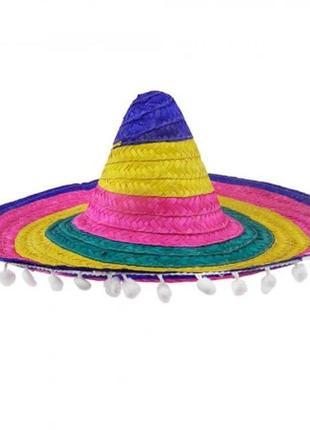 Шляпа сомбреро 53см соломенная цветная с кисточками