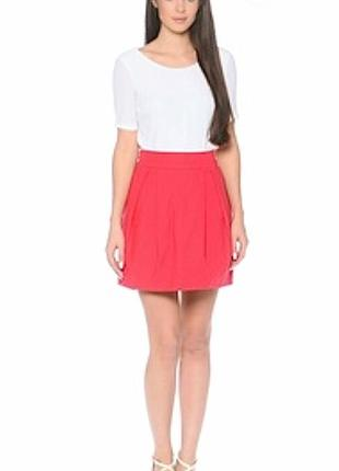 Красная яркая юбка спідниця юбочка мини юбка с карманами пышная