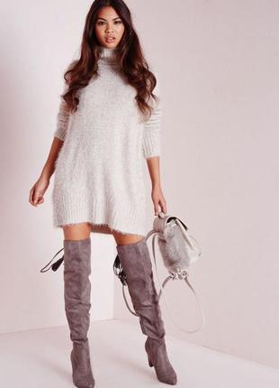 Объемное теплое платье джемпер