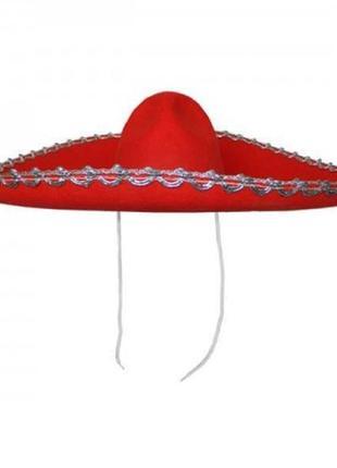 Шляпа сомбреро мариачи красная фетровая