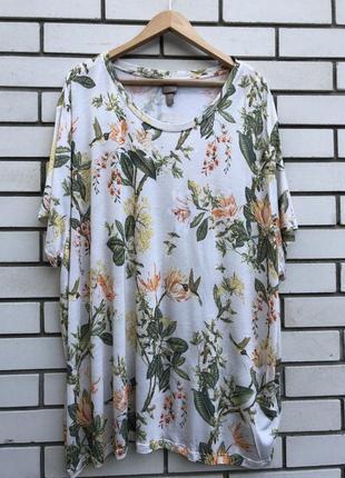 Цветочная футболка,блуза,большого размера,батал,вискоза,h&m