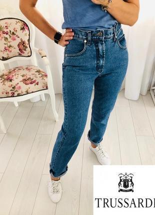 Итальянские джинсы trussardi высокая талия посадка mom оверсайз oversize свободного кроя
