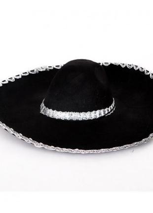 Шляпа сомбреро мариачи черная фетровая 60 см
