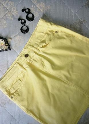 Джинсовая жёлтая юбочка, стрейчевая