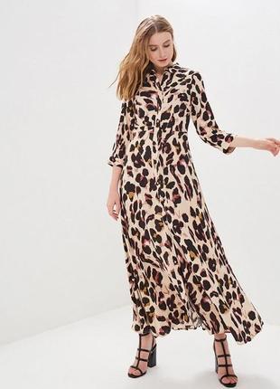 🌿леопардовое платье рубашка в пол y.a.s длинное платье на пуговицах