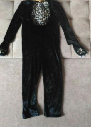 Кигуруми, велюровый карнавальный костюм чёрной пантеры, леопарда, на возраст 6-8лет