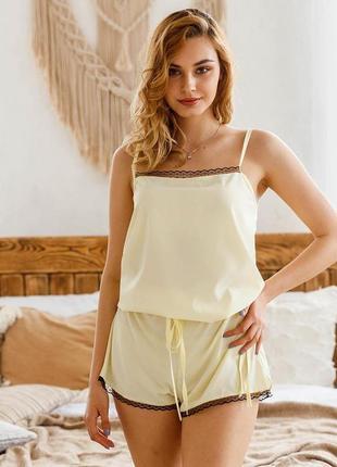 Mito olivia софт комплект пижама майка и шорты женская желтая