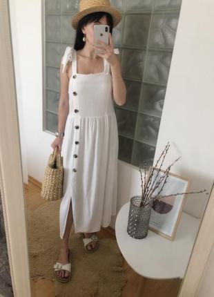 Белый льняный длинный сарафан платье на пуговицах primark