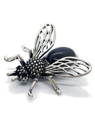 "🌾🦋 брошь-кулон ""муха"" натуральный камень дымчатый агат брошка значок"