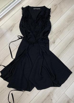 Чёрное платье сарафан zara рюшами