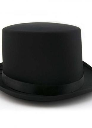 Цилиндр шляпа джентльмена или фокусника черная фетровая