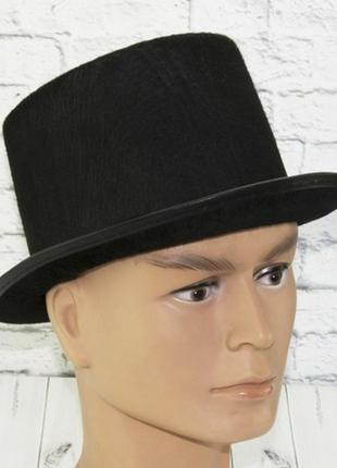 Шляпа цилиндр фетровая черная фокусник джентльмен