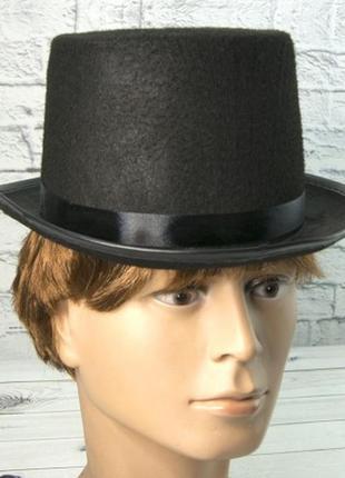 Шляпа цилиндр маскарадная черная фетровый полиестр