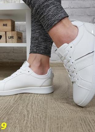 Кеды кроссовки белые легкие из эко кожи