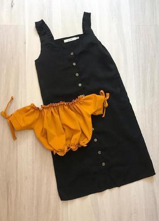 Черное натуральное платье на пуговицах чорна натуральна сукня на гудзиках прямого крою