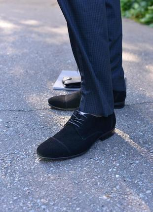 Замшевые классические туфли от производителя flamanti, замшеві туфлі від виробника