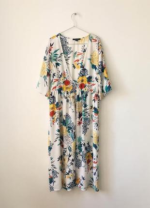 Пляжная накидка макси  платье с ярким цветочным принтом primark  белая накидка кимоно