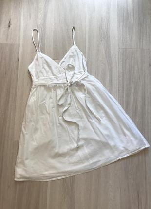 Натуральное белое платье на бретелях натуральна біла сукня літня 100% бавовна з поясом