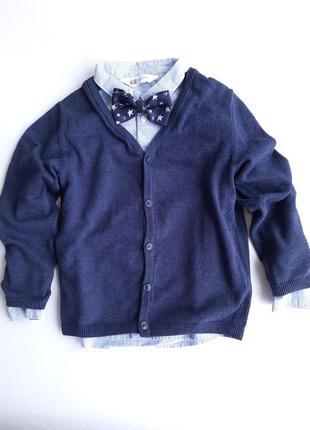 Тройка h&m рубашка, кардиган и бабочка 5-6лет (116см)