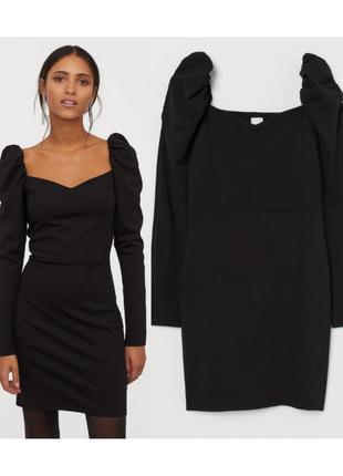 Трикотажное платье с пышными плечиками s,m