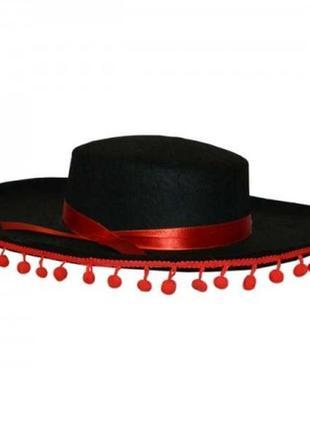 Шляпа маскарадная испанец черная фетровая