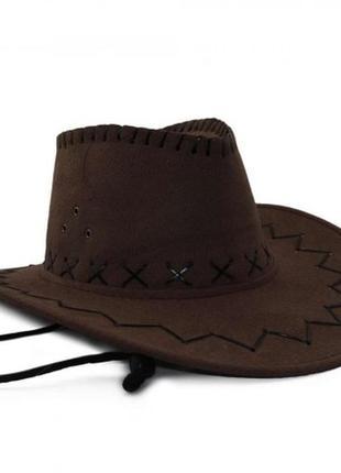 Шляпа ковбойка коричневая новая