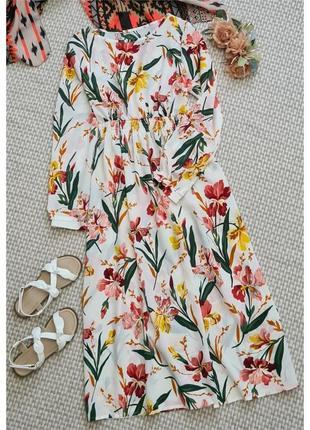 Белое длинное платье в цветы sheinsde
