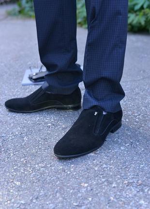 Замшевые классические туфли от производителя flamanti, замгеві туфлі від виробника