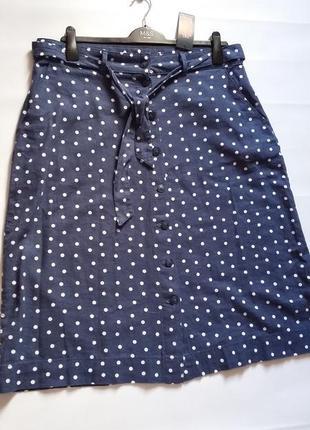 Миди юбка в горошек marks & spencer