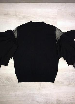 Кофта сетка / чёрная кофта с воланами / джемпер с объемными рукавами